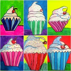 Wayne Thiebaud Cupcakes - could do with 2nd grade and complementary colors