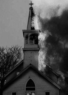 """CONGRATULATIONS"" BURNING CHURCH BLACK METAL CARD Image"