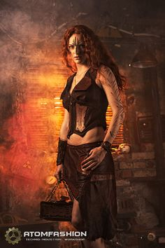 Steampunk leather skirt 'Priestess of Fire' by Atomfashion on Etsy