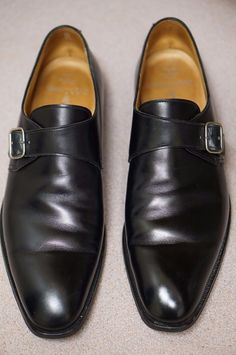 For your consideration a used pair of Crockett and Jones Monkton single monk strap shoes for Ralph Lauren. Built on high quality single leather channeled oak bark outsole. Made from a soft french calfskin and finished off with a silver buckle. | eBay!