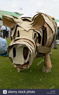 Cardboard Pig Stock Photo