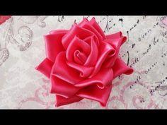 DIY Satin ribbon rose, satin ribbon flower tutorial,how to,kanzashi - YouTube