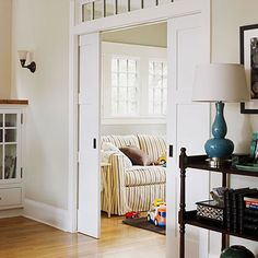 Pocket doors. Any small space's best friend. They give you the same privacy of a regular door yet don't take up the same amount of floor space. I love the pocket door to our bathroom; I don't even want to think of the space I would lose and how cramped it would be without it!!!