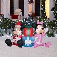 mickey mouse christmas decorations airblown christmas inflatable disney mickey mouse and minnie mouse