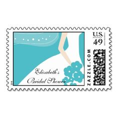 Blue/White Modern Bride Bridal Shower Stamp. This is a fully customizable business card and available on several paper types for your needs. You can upload your own image or use the image as is. Just click this template to get started!