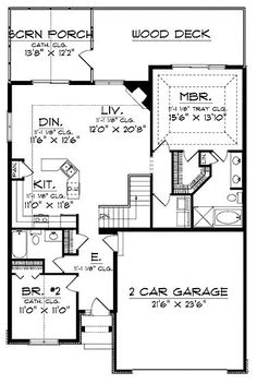 Home Remodeling Plans Classic Ranch Home Plan - 2 Bedroom House Plans, Basement House Plans, Ranch House Plans, House Floor Plans, Basement Ideas, Basement Bedrooms, Master Bedrooms, Architectural Design House Plans, Architecture Design