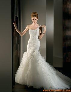 Robe de mariage sirène tulle appliqué dentelle cristal lacets