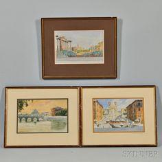 Three Framed Watercolors:      Anna Sofia Palm de Rosa (Swedish, 1859-1924),   The Spanish Steps