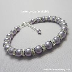 Light Purple Bridesmaid Gift, Swarovski Mauve Light Purple Pearl Bracelet, Bridesmaid Bracelet, Wisteria Jewelry, Mother of the Groom Gift