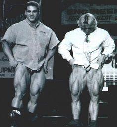 Paul DeMayo and Tom Platz compare quads.