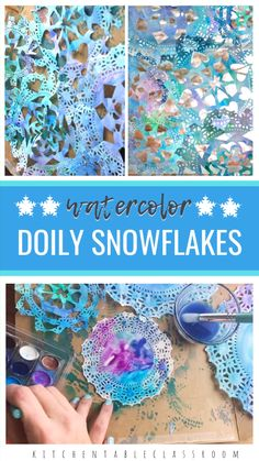 winter kids crafts Add new layers of interest to old fashioned cut paper snowflakes by making them from lacy doilies and adding dreamy watercolor! Winter Art Projects, Winter Crafts For Kids, Winter Kids, Kids Crafts, Garden Projects, Winter Crafts For Preschoolers, Snow Crafts, Christmas Art Projects, Summer Kids