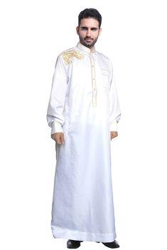 8bf202d22615 New Men Muslim Dress Saudi Thobe Thoub Abaya Robe Dishdasha Arab Kaftan  Islamic