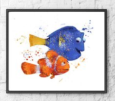 Hey, I found this really awesome Etsy listing at https://www.etsy.com/listing/235065776/nemo-and-dory-watercolor-print-finding