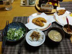 2013/01/20 Fried Chicken,Fermented soybeans,Miso soup. ササミフライ、味噌汁、サラダ、納豆