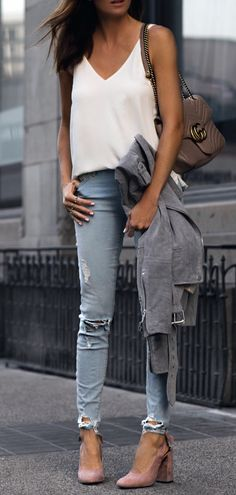 #summer #outfits White Tank + Ripped Skinny Jeans + Nude Pumps