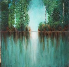 $450 48 x 48  Original trees art green forest with painting with birch trees