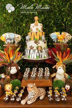 Baby Shower Ides Jungle Theme Dessert Tables 30 Ideas - Sites new Safari Party, Safari Theme Birthday, Wild One Birthday Party, Baby Boy 1st Birthday, Animal Birthday, Baby Party, 1st Birthday Parties, Jungle Party, Birthday Table