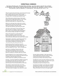 Worksheets: Christmas Similes