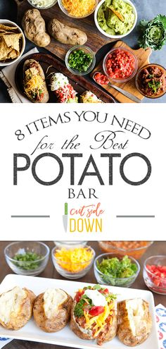 If you are planning a potato bar you can't forget these tasty potato bar toppings! Potatoes are a cheap meal idea that will leave you feeling full for hours! Mashed Potato Bar, Baked Potato Toppings Bar, Beef Recipes, Cooking Recipes, Cooking Bacon, Food Stations, Cheap Meals, Food And Drink, Food Bars