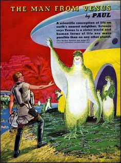 A Frank R. Paul's illustration for the September 1939 issue of Fantastic Adventures that depicts the Venusian.