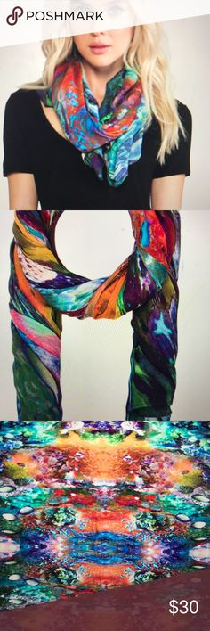 """Front Row Society scarf 100% viscose vibrant color sea life 48"""" x 49"""" hand wash only Front Row Society Accessories Scarves & Wraps"""