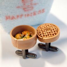 Chino Dim Sum gemelos - Yum Cha mancuernas - miniatura alimentos joyería coleccionable - Mickie Schickie Original 100% hecho a mano