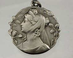 ANTIQUE ART NOUVEAU GERMAN SILVER YOUNG LADY  WRAP AROUND SCRAF CHARM OR PENDANT