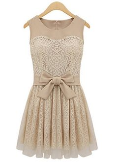 A Line Round Neck Sleeveless Apricot Dress with Bow