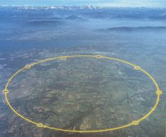 CERN's Large Hadron Collider. Seventeen miles wide and built underground spanning both Switzerland and France.