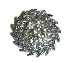 Pinwheel Rhinestone Brooch Pin Sparkling by PopcornVintageByTann
