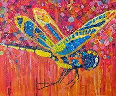 Dover Dragonfly  Noah's Ark Series  20x24  Collage of hand painted paper on panel