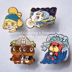 Hard enamel pins with Animal Crossing New Horizons Characters crossover Famous Art.