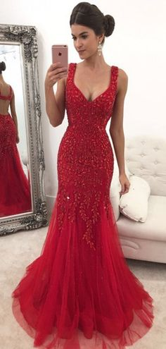 Red Custom Made Prom Dress Long,Dance Dresses, Graduation School Party Gown,Evening Gown Gorgeous Prom Dresses, Cute Prom Dresses, V Neck Prom Dresses, Dance Dresses, Formal Dresses, Dress Prom, Red Tight Prom Dress, Elegant Dresses, Sexy Dresses