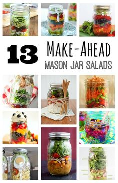 I've found 13 fabulously quick and easy mason jar salads I can whip up ahead of time and have ready to eat all week. Shake them up and you're ready to eat! #Masonjarsalads