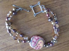 Kazuri Beaded Bracelet with fresh water pearls by GirlTalkBoutique