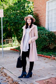 gray sweater, camel coat/trench coat, black skinny jeans, black booties