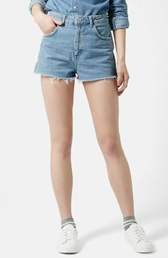 $52, Light Blue Denim Shorts: Topshop Moto Slouchy Cutoff Shorts. Sold by Nordstrom. Click for more info: https://lookastic.com/women/shop_items/184084/redirect