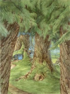 From The World of James Browne, Fb page. Forest Fairy, Fairy Land, Art And Illustration, Fairy Tree Houses, Old Trees, Colouring Techniques, Walk In The Woods, Whimsical Art, Figure Painting