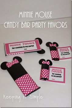 Minnie Mouse Candy Bar Party Favors with Free Printable #MinnieMouse @keepingitsimple