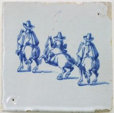 Antique Dutch Delft tile depicting three horse riders attending a riding school, 18th century