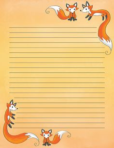 Free printable fox stationery in JPG and PDF formats. The stationery is availabl. Printable Lined Paper, Free Printable Stationery, Cute Stationery, Stationery Paper, Envelopes, Notebook Paper, Borders For Paper, Writing Paper, Note Paper
