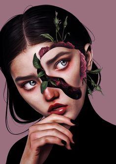 #Digitalart #portrait #beauty #surrealism Colorful Drawings, Art Drawings, Surealism Art, Surreal Artwork, Digital Art Girl, Goth Art, Art Sketchbook, Aesthetic Art, Unique Art