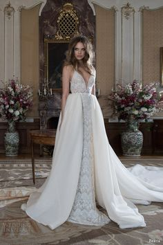 berta fall 2015 bridal sleeveless beaded sheath wedding dress straps beading overskirt