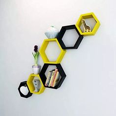 Onlineshoppee Fancy Set of 6 Hexagonal Shape MDF Wall Shelf Big Size ( 10.5 x 4x 10.5) inch Color- Yellow and Black * Check out this great product. (This is an affiliate link) #FloatingShelves