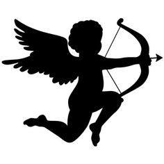 Cupid decal tattoo, little angel and his arrow – www … - Tattoos Angel Silhouette, Silhouette Vinyl, Valentine Cupid, Valentine Nail Art, Paper Christmas Decorations, Valentine Decorations, Kirigami, Cupid Tattoo, Angel Drawing