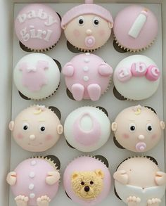 Baby Cupcake, Baby Shower Cupcakes, Shower Cakes, Cupcakes For Boys, Cute Cupcakes, Baby Shower Ballons, Pregnant Belly Cakes, Biscuit Decoration, Elegant Cupcakes