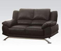 1PerfectChoice Maigan Black Bonded Leather Match Loveseat -- Click image for more details.