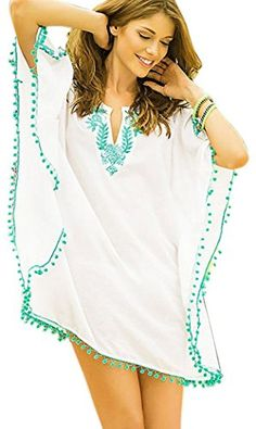Christmas PEGGYNCO Womens White Pompom Trim Embroidered Chiffon Caftan ** Read more reviews of the product by visiting the link on the image.