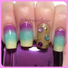 """Pastel gradient! used China Glaze """"Gothic Lolita"""", Sinful Colors """"Be Happy"""" & """"Unicorn"""" topped with China Glaze """"Fairy Dust"""" & the accent finger is China Glaze """"Angel Wings"""" with some eBay rhinestones. @strawbrie"""