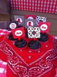 DIY  Cowboy Birthday Party PRINTABLE Cupcake Toppers favor tags baby shower red black bandana boots western.